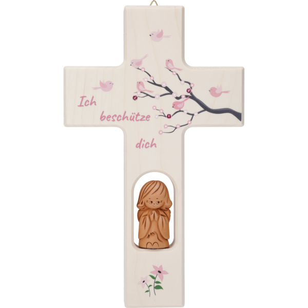 Kreuz mit Tonengel, rosa